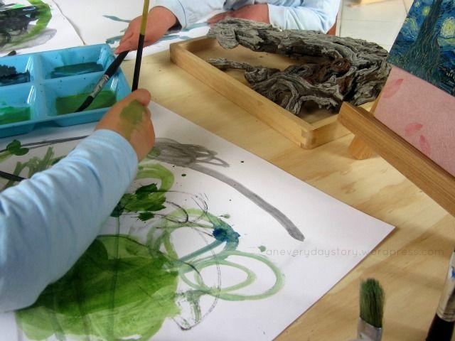 Reggio art activities - using watercolours