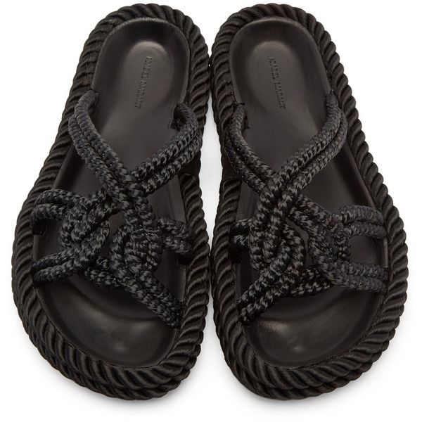 Isabel Marant Black Popeye Rope Sandals (1,110 CNY) ❤ liked on Polyvore featuring shoes, sandals, twisted shoes, isabel marant sandals, black open toe shoes, open toe sandals and black open toe sandals