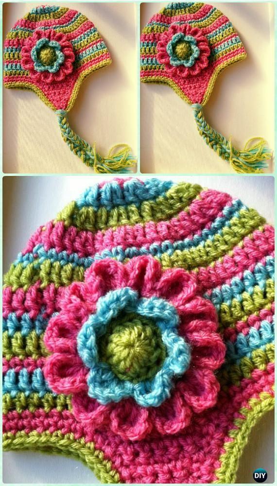 Crochet Dahlia Flower Earflap Hat Free Pattern Instructions-DIY #Crochet Ear Flap Hat Free Patterns