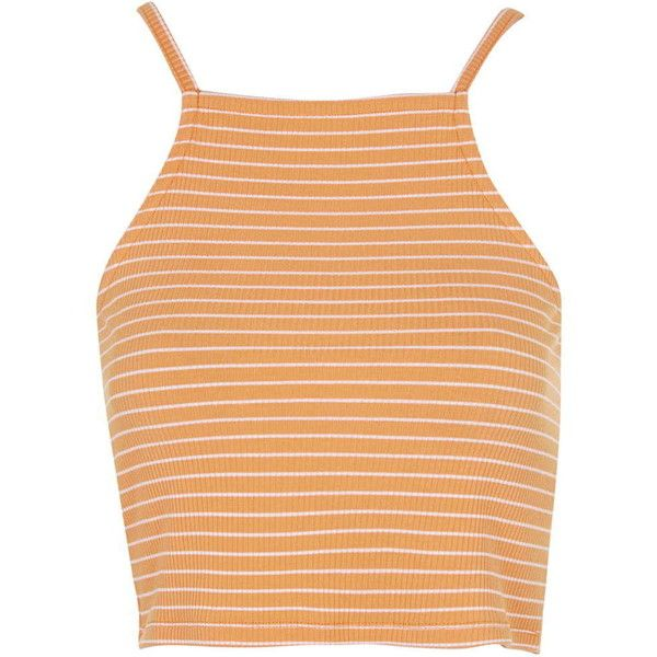 TOPSHOP PETITE Exclusive Striped Crop Top (2670 ALL) ❤ liked on Polyvore featuring tops, crop tops, shirts, clothes - tops, petite, yellow, striped top, high neck top, stripe crop top and shirts & tops
