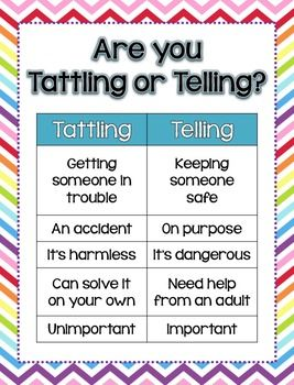 Do your students struggle with whether they should tell you about something that happened on the playground? Are they tattling nonstop? Use these mini posters to end the tattling! There are 3 Tattling vs. Telling and 3 Tattling vs. Reporting posters in 3 different chevron color