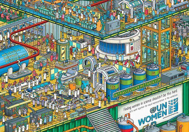 """Na última quarta-feira, Dia Internacional da Mulher, a ONU iniciou ao redor do mundo uma série de campanhas e atividades para discutir o empoderamento feminino, a inclusão da mulher no mercado de trabalho, os direitos das mulheres e o combate ao feminicídio, entre outros assuntos. E uma dessas ações é um anúncio criado pela DDB Dubai que critica a falta da representatividade da mulher na área da ciência, política e tecnologia. Através de imagens que lembram o famoso """"Onde Está Wally?"""", a…"""