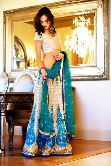 blue wedding lehenga  more inspiration @ http://www.ModernRani.com