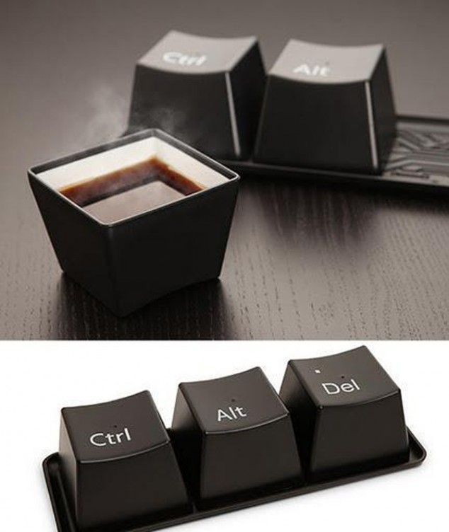 Coffee mugs that bring out my techno inner geek . . . so cool! #coffee #mugs #design