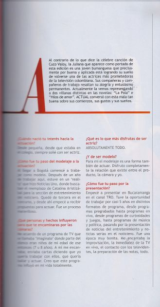 Juliana Galvis, revista Actual