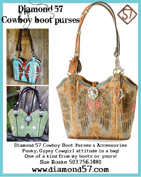 Purses made from cowboy boots. Each is one of a kind! Order a custom purse today!