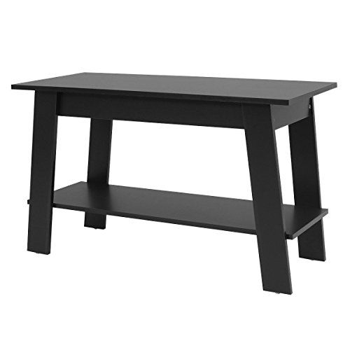 Ayamastro Black Multi Purpose Elevated Tv Stand Storage Console Shelves Coffee Table W 2 Tier Black Home Furniture Tv Stand With Storage Console Shelf