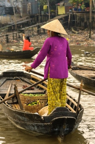 Floating Market in the Mekong Delta of Southern Vietnam.