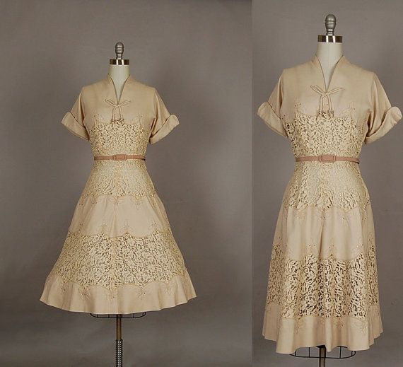 vintage 1950s dress full skirt lace linen by NodtoModvintage, $240.00: Full Skirts, Designer Flax, Illusion Rhinestone, Linen Illusion, Vintage 1950S Dresses