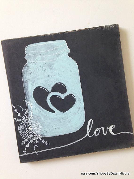 Vintage Love Mason Jar Wood Sign by Dawn Nicole