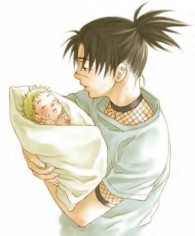 Young Iruka and baby Naruto from Naruto.