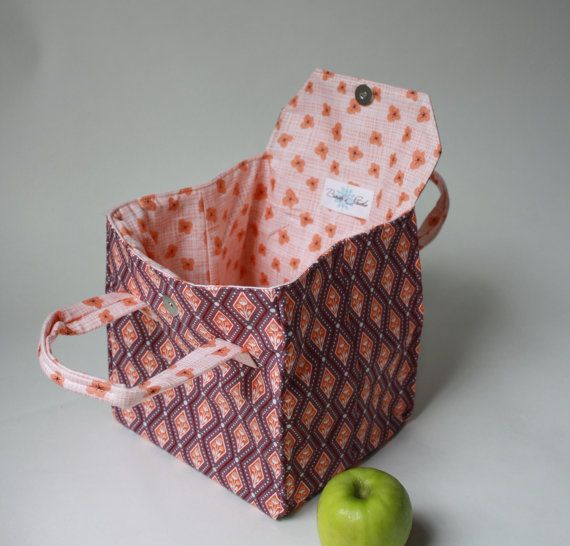 Lunch Bag Diamonds and Flowers Insulated Lunch by binskistudio