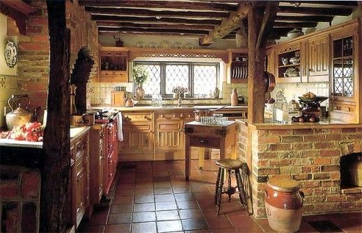 Kitchen With Wood Beam Ceilings