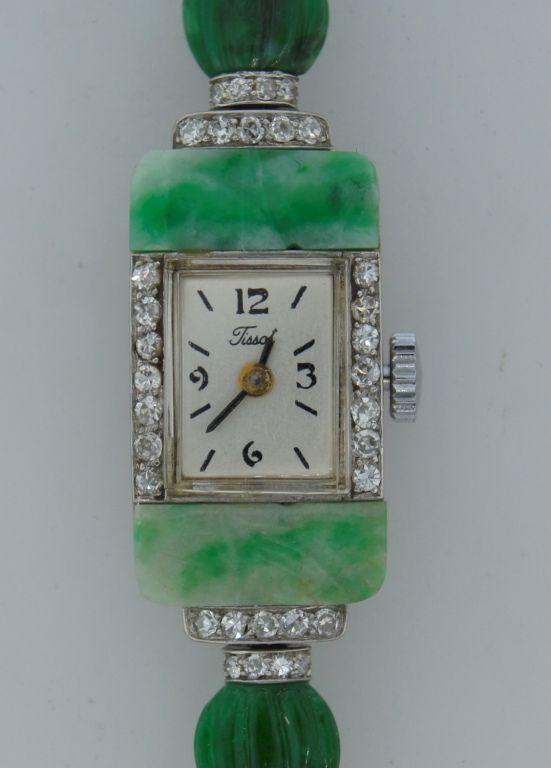 Tissot Art Deco Lady's Platinum, Jade and Diamond Bracelet Watch image 3
