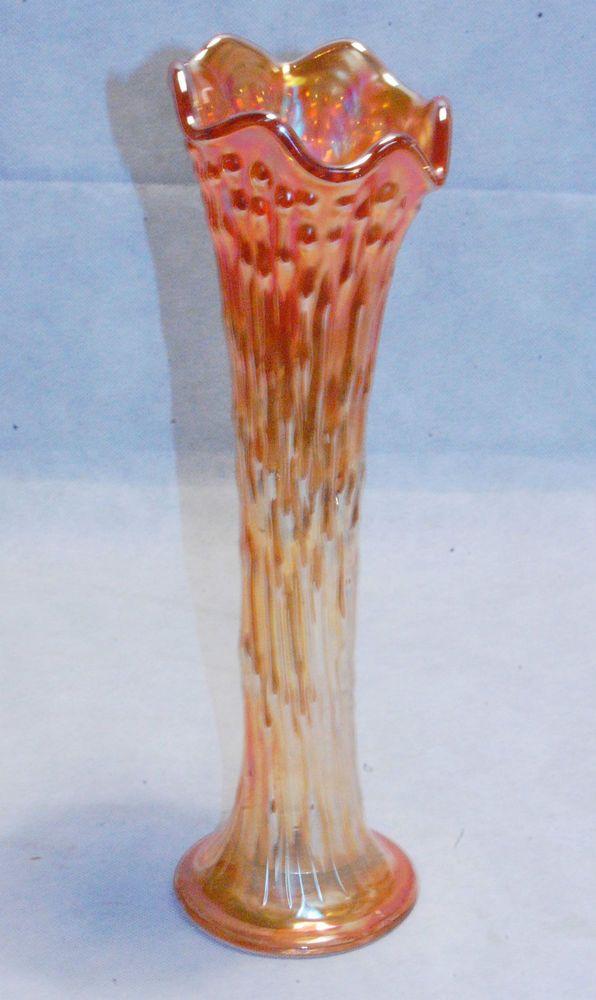 Tall Vintage Iridescent Marigold Carnival Glass Vase