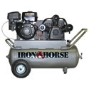 Iron Horse 9-HP 25-Gallon Portable Gas Air Compressor. It has a 25 gallon tank for steadier pressure on big jobs, but still can be loaded into your truck with the help of the front & back handles.    Large doesn't stop with the tank; we also like the robust 9 HP Robin Subaru engine paired with a 3 cast iron cylinder pump.     This air compressor will work as hard as you do.