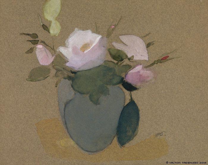 Helene Schjerfbeck, 'Roses in a Blue-Green Vase', c. 1942