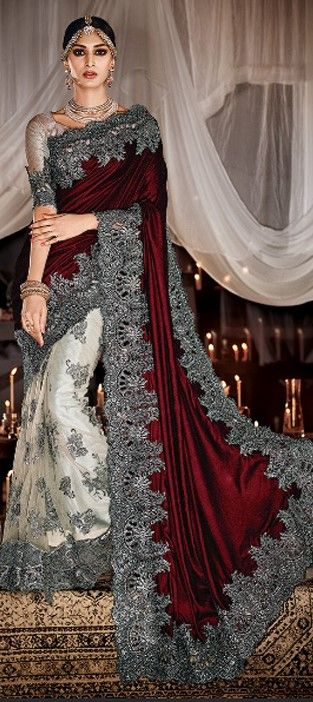 Red and Maroon, White and Off White color family Bridal Wedding Sarees in Net, Velvet fabric with Stone, Zari work with matching unstitched blouse.