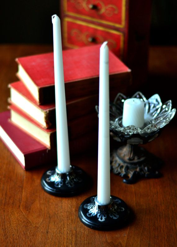 GOTHIC CANDLE HOLDER vintage candle holder by Cinnabarys on Etsy. Vintage Art Deco style black and silver candleholders