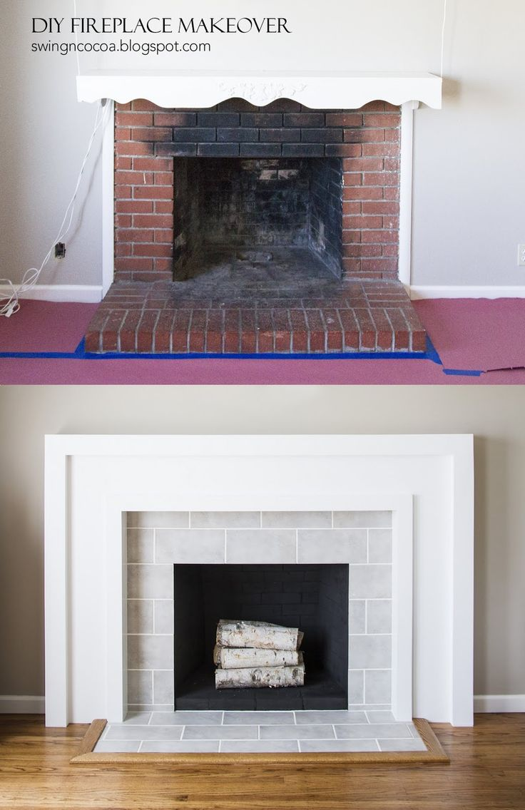 SwingNCocoa: DIY Fireplace Makeover for $200. GREAT Blog post with photos and step by steps...totally can do this to our charry firepit!