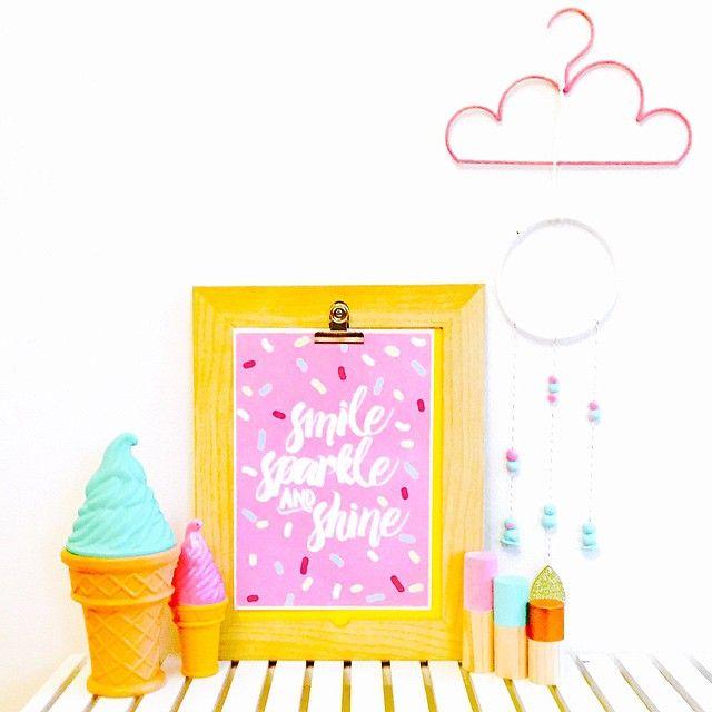 Loving my new @dare2dreamdesignstudio print...perfection! Tap for details! #shelfie #pink #icecream #dreamcatcher #girlsroom #nurserydecor #nurseryinspo #homestyling #interiors #homedecor
