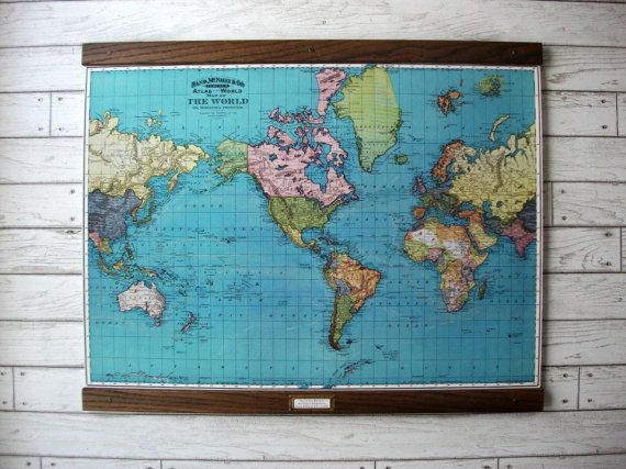 11 best images about stuff to buy on pinterest world map 1897 vintage pull down reproduction canvas fabric or paper print oak wood hanger and brass hardware organic finish gumiabroncs Gallery