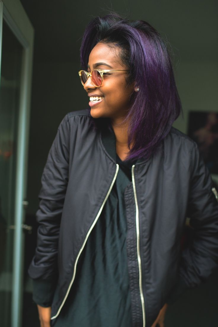 purple hair on dark skin