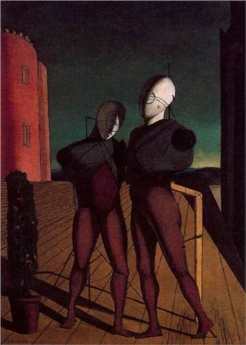 Giorgio de Chirico (1888 - 1978) | Metaphysical Art | The duo (The models of the red tower) - 1915