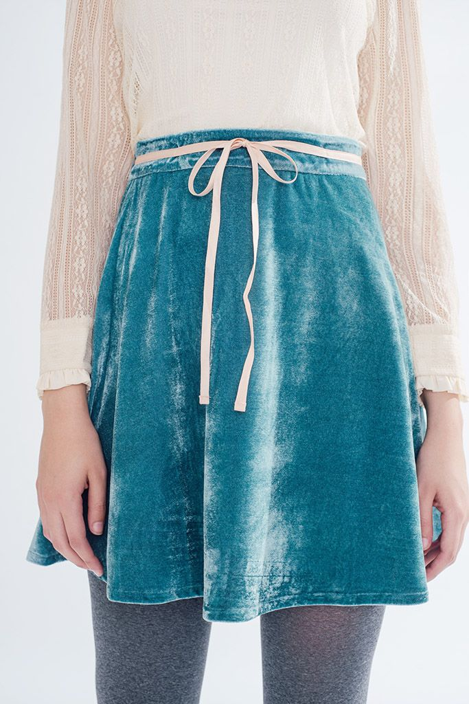 Velvet Dream Skirt (Mint) -misspatina.com