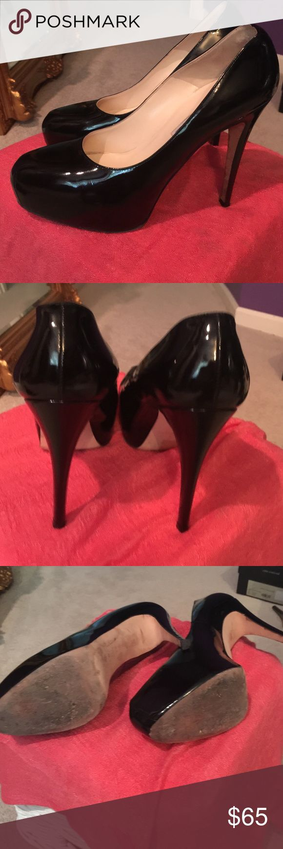Brian Atwood Manic Pumps In great shape. Only obvious sign of wear is on the soles. The heels are in great shape. No tears in the leather. Black patent leather Brian Attwood Shoes Platforms