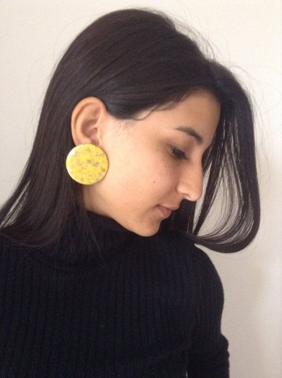 clip-on earrings plastic yellow gifts Christmas by TSColorfulWorld