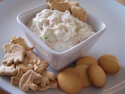 cake batter dip.... the site has so many neat dips it's REEDONKULOUS!!!!  quick i need to have another party so i can make them!!!!!!  :)