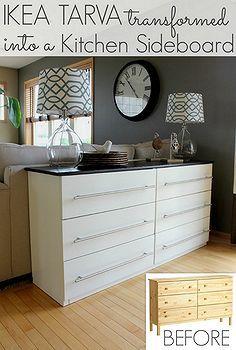 ikea tarva commode transformée en cuisine Buffet, la conception de cuisine, meubles peints, la réorientation upcycling, Un IKEA Tarva 6 tiroirs tourné cuisine sideboard un ajustement parfait contre l'arrière de notre canapé