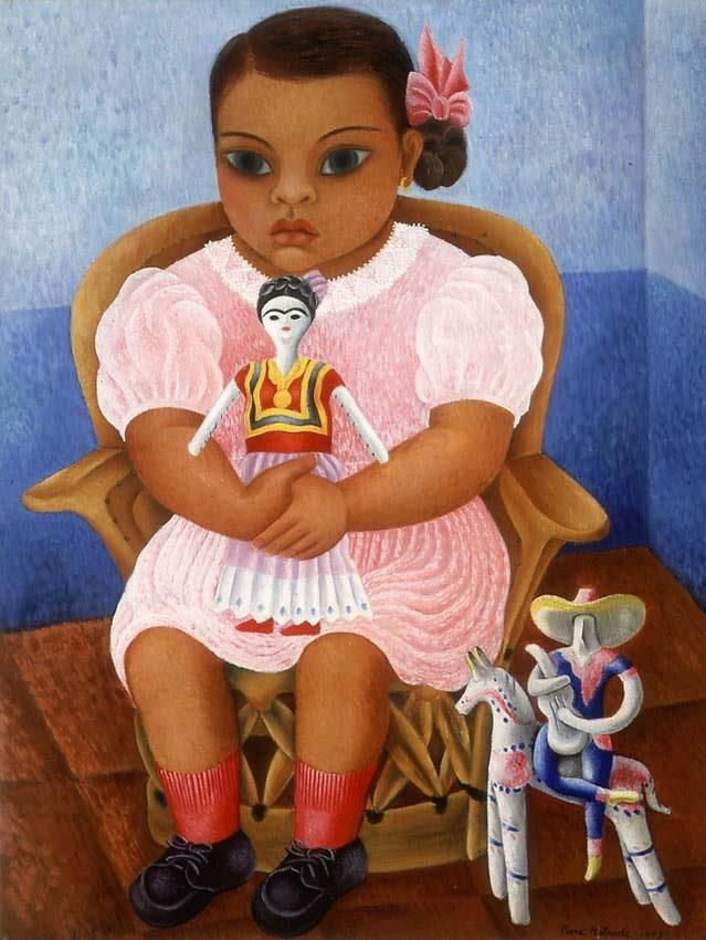 """Niña de la muñeca"", 1943 by Rosa Rolanda Covarrubias. Image via Blaisten Collection, UNAM, Mexico. Rosa was a friend of Frida Kahlo and the doll is a tribute to her."