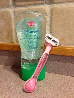 Shaving with baby oil. A friend gave me this tip! I swear by it! It's better for the razor blade, making it last longer. Provides a closer shave with no nicks and bumps. Contains no alcohol, so its better for your skin and seals in moisture. Doesn't run off in the shower. And it saves a ton of time and money!!!! Try it- you'll never use anything else!!!!