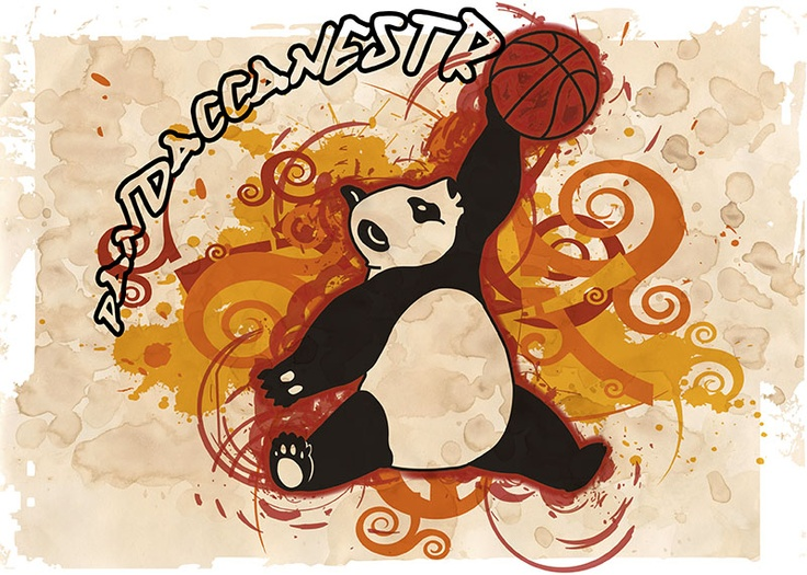 """Pandaccanestro"" illustrazione per una squadra di pallacanestro giovanile (Illustrator & Photoshop). Illustration for a youth basketball team (Illustrator & Photoshop)."