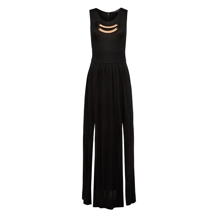 A beautiful free flowing maxi dress that is cinched at the waist for a feminine shape.  Features front splits for movement finished with a metal trim neck detail. Add a heel for your next summer calendar event. 100% POLYESTER