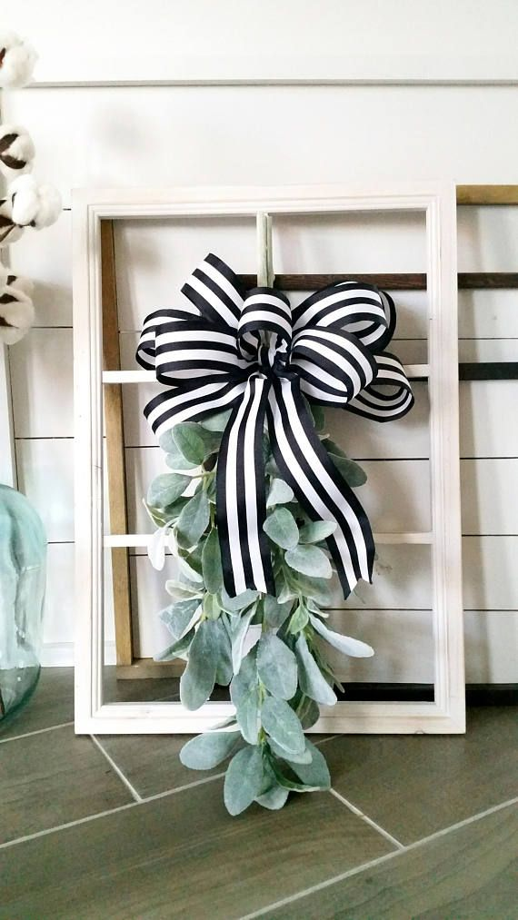 Decorated Wooden White Washed Window Frame Wall Decor Wreaths In