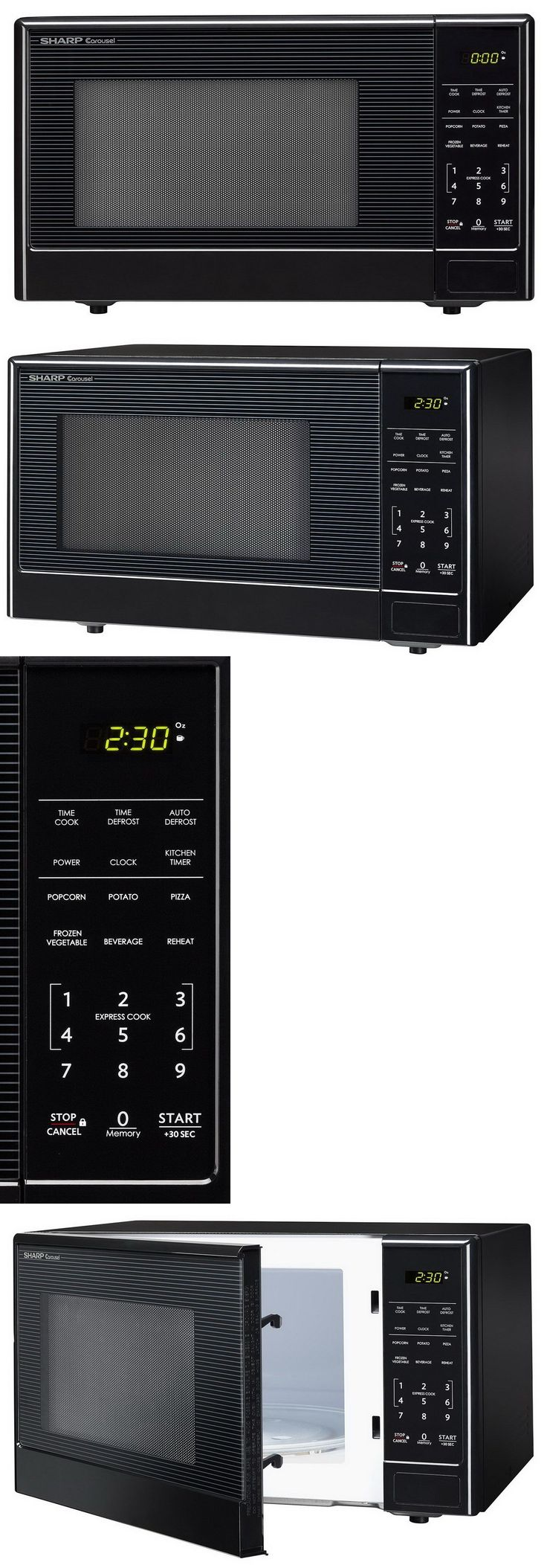 Major Appliances: New Sharp Microwave Oven Compact Stainless Steel Countertop 1.1 Cu Ft BUY IT NOW ONLY: $79.89