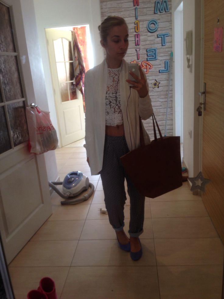 Prague summer outfit #bershka cardigan #h&m pants and ballerinas, bag  #zara crop shirt