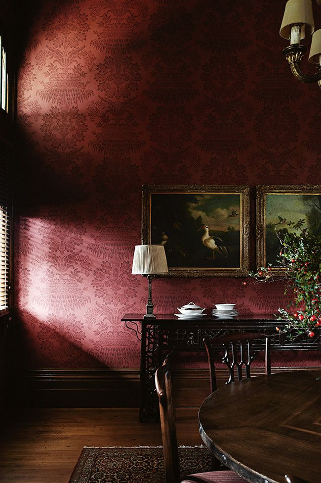 wallpapered in Zoffany 'Long Gallery' designed by Stuart Rattle. Country Style magazine