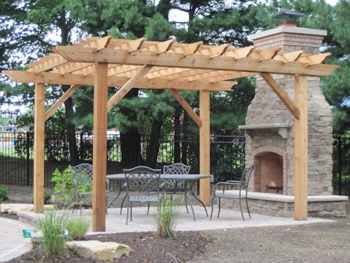Pergola with attached fireplace