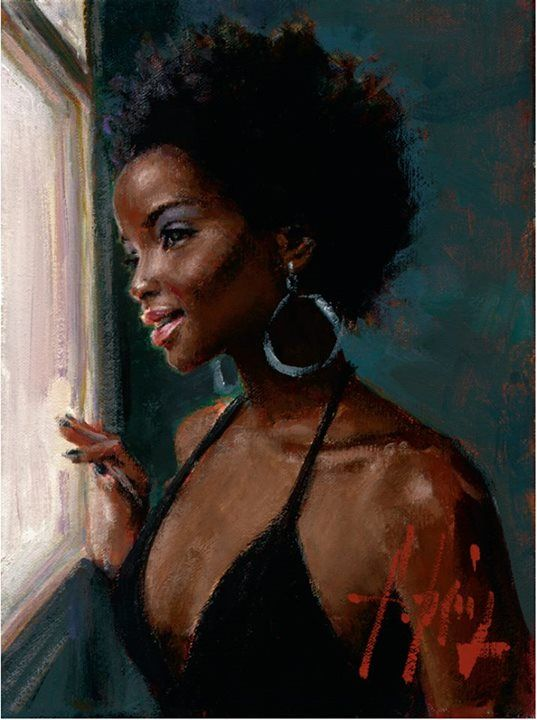 AT THE WINDOW, by Fabian Perez.