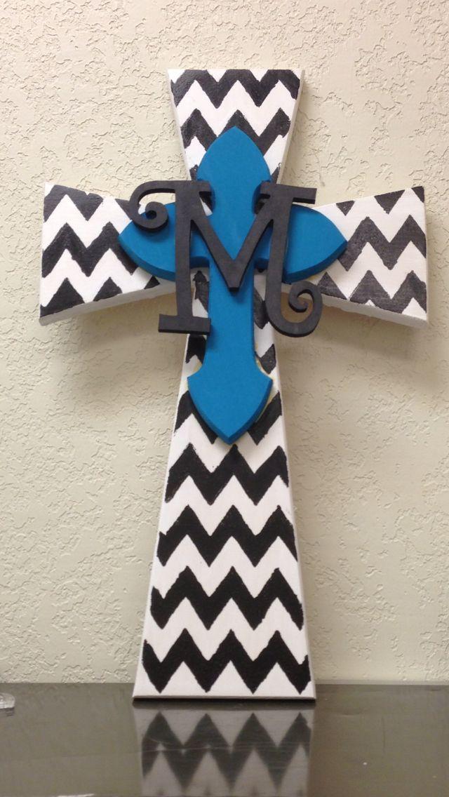 Chevron hand painted wood cross | Things I made myself ...