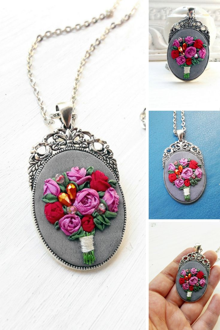 Woman flower necklace Miniature dusty pink rose red flower Silk ribbon embroidery necklace Gift for mom from daughter Boho chic pendant
