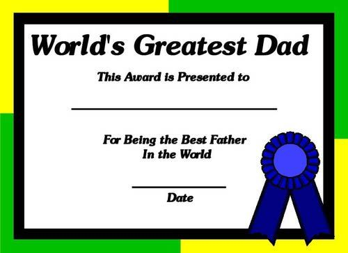worlds best dad certificate print out