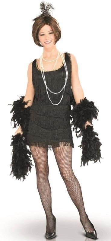 Ce déguisement charleston femme est une robe charleston noire années 20-30 avec la coiffe charleston à plume, fêtes déguisées.