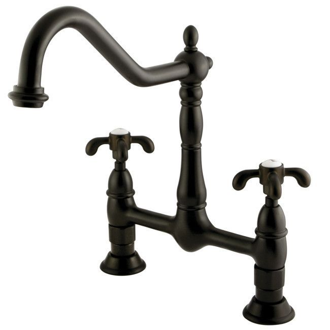"Features: -French Country collection. -Material: High quality brass. -0.25"" Turn ceramic disk cartridge. -Number of holes: 2. -Standard iron pipe size connection. Product Type: -Bar faucets. Ma"