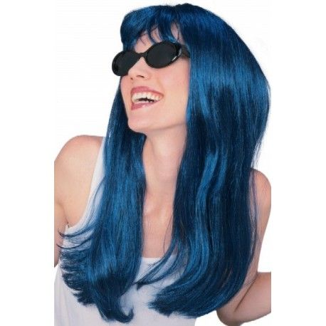 Perruque bleue boucl e femme luxe perruque bleue noir - Couleur noir bleute ...