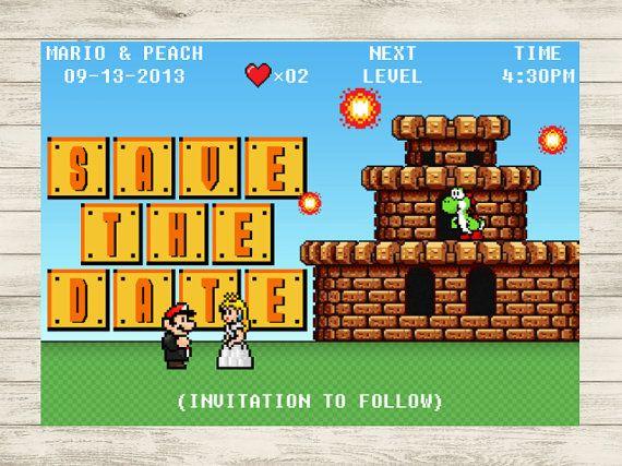 8-Bit Video Game Super Mario Wedding Save the Date (Customizable DIY Printable)